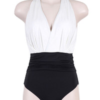 White V-Neck Contrast Backless Triangle Swimsuit