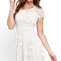 Eagerly Awaited Beige and Ivory Lace Skater Dress