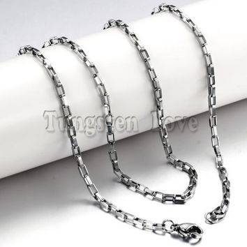 20 inch 316L Stainless Steel Hypoallergenic Box Motorcycle Chain Necklace with Lobster Clasp for men Boy Christmas Gift