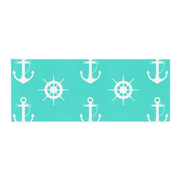 "afe images ""Anchor And Helm Wheel"" Teal White Illustration Bed Runner"
