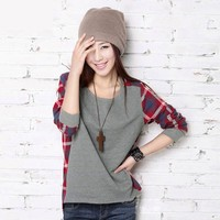 Big size women fashion pullovers long-sleeve plaid pullover girl sweater