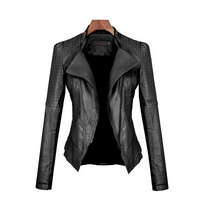 Women Leather Slim Zipper Jacket, Women Black Leather Jacket, Women Winter Jacket
