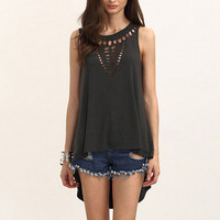 Brand New Sexy Women Retro Hollow Out Vest Top Sleeveless Summer Casual Fashion Irregular Loose Shirt Blouse Plus Size Blusas