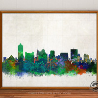 Memphis Skyline Watercolor, Tennessee Print, Cityscape, USA City Painting, States Poster, Illustration Art Paint, Giclee Wall, Home Decor