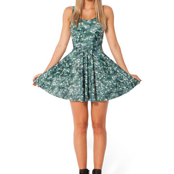 Green Cactus Print Pleated Mini Dress