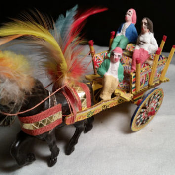 Sicilian Folk Art Italian Horse Figurine w/ Colorful Carriage / Cart & Feathers Three Sicilian Folk Art Figurines Carrettino Siciliano