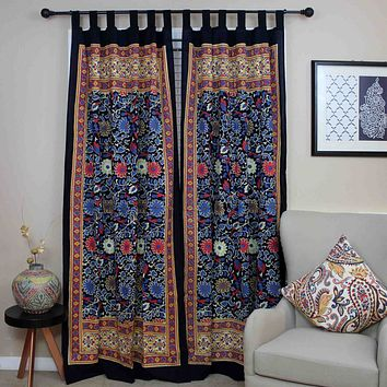 Handmade 100% Cotton Sunflower Tab Top Curtain Drape Panel Yellow Black