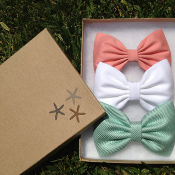 Beach trend pastel hair bow lot for summer.  Teal shimmery aqua, white denim, pale peach pink.  On trend pastel colors bows.  Perfect gift.