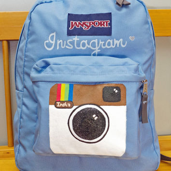 Hand Painted Instagram Camera Jansport Backpack - Retro Vintage Back to School Sky Blue
