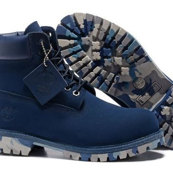 UK Timberland Men Navy-Blue 6 Inch Premium Camo-Outsole Boots