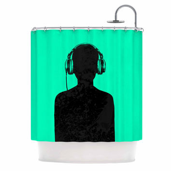 "BarmalisiRTB ""Black Music"" Turquoise Shower Curtain"