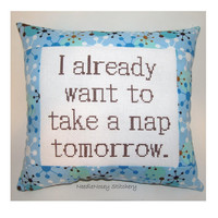 Funny Cross Stitch Pillow, Blue and Brown Pillow, Nap Quote