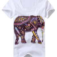 Patterned Elephant Graphic Tee