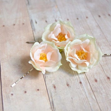 Wedding flower hair pins, peachy rose bobby pins, bridal hair accessories