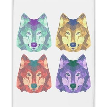 "Geometric Wolf Head Pop Art Fridge Magnet 2""x3"" Portrait by TooLoud"