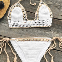 Cupshe Shell Shelter Crochet Knitting Bikini Set