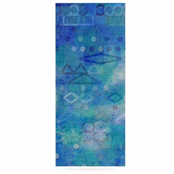 "Mimulux Patricia No ""Hieroglyphic"" Blue Digital Abstract Luxe Rectangle Panel"