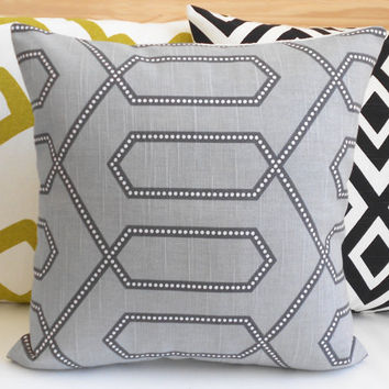 Gray dotted trellis dwell studio decorative pillow cover
