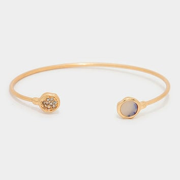 Circle Natural Stone Turquoise Cuff Bangle Bracelet - Gold / Blue