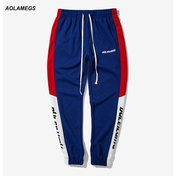 Aolamegs Men Casual Pants Spliced Colored Vintage Track Pants Letter Printing Side Stripe Trousers Male Jogger Pants Drawstring