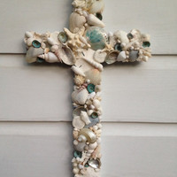 Seashell Cross/Wedding/Something Blue/Beach Decor/Seashell Home Decor