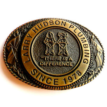 Vintage Advertising Belt Buckle Brass Larry Hudson Plumbing Plumber Arizona Hi Lo Buckles Limited Edition Made in USA