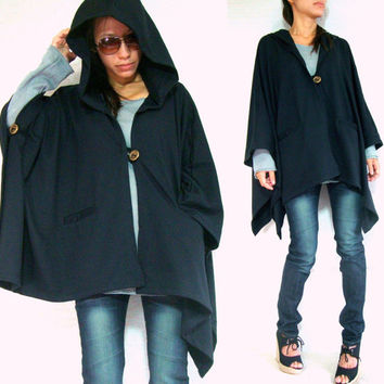 Hoodie Coat / Hoodie Jacket / Hoodie Wrap / Black Jacket / Women Outerwear / Cotton Cape Coat