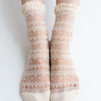 Women New Hezwagarcia Japan Edition Silk Rayon Nylon Beautiful Ruffle Frill Lace Mesh Sheer Sheen Elegant Ankle Socks Stocking in Beige
