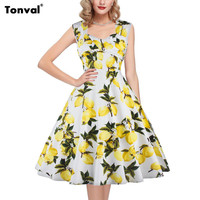 Tonval Women Vintage Dress Lemon Pattern Print 1950s 60s Style Rockabilly Evening Party Backless Sexy Swing Summer Dresses