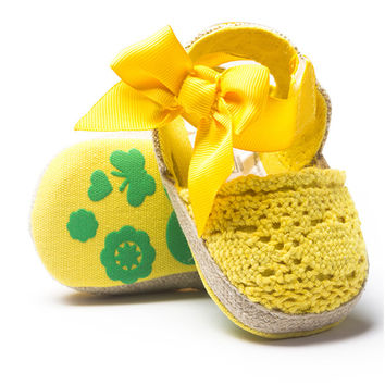 Sweet Newborn Baby Girls Prewalker Sandals Anti-slip Crochet Knitting bow-knot Soft Sole Infant Toddler Princess Footwear Shoes