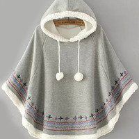 Grey Hooded Embroidered Cape Coat