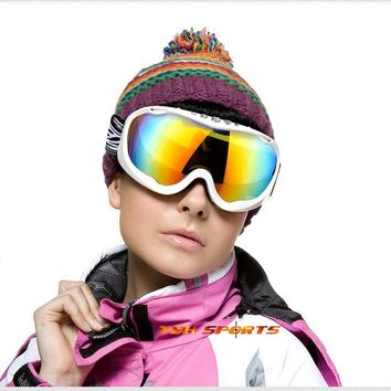 North Wolf PC UV400 ski glasses 3 layers sponges TPU frame ski goggles women+Free shipping(SKU12050150)