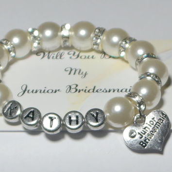 junior bridesmaid bracelet - will you be my junior bridesmaid - name bracelet - bridesmaid monogram - wedding thank you - handmade bracelet