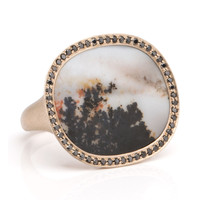 Monique Péan Dendritic Agate and Black Diamond Ring