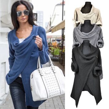 Womens Cowl Neck Long Sleeve Sweater Jumper Tops Cardigan Split Poncho Blouse