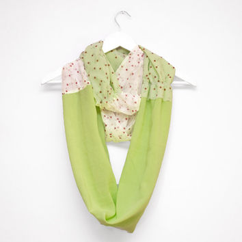 Pastel Green Scarf, Green Infinity Scarf, Floral Pattern, Cotton and Polyester, Green Spring Scarf, Autumn Scarves, Floral Scarf