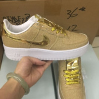 """NIKE""AIR Fashion Women Running Sport Casual Shoes Sneakers Shining golden"