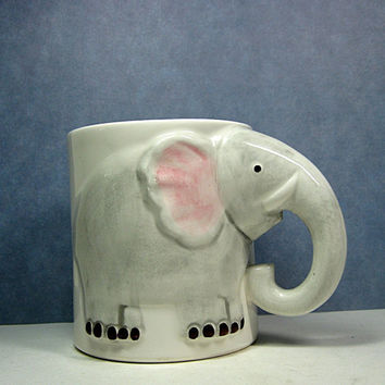 Elephant Mug Head & Trunk Handle Enesco Pottery by CoconutRoad