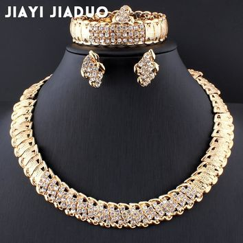 jiayijiaduo African Wedding Jewelry Dubai Gold color Jewelry Sets Romantic Color Design Jewelry Sets Necklace ping
