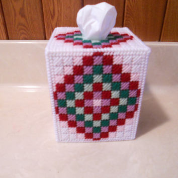 Plastic Canvas Tissue Box Cover - Mosaic Design - Boutique Size Box