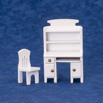 1:24 Scale Computer Desk with Chair, White #T5726