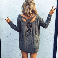 Back Cross Cut Out Long Sleeve Knitted Sweater