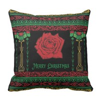 Art Nouveau Ugly Christmas Sweater Pillow