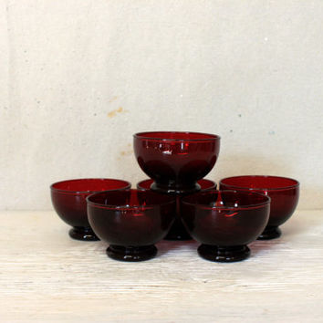 set of 6 vintage ruby glass bowls // red ruby glass footed berry dessert cereal bowls //  elegant glass bowls handmade
