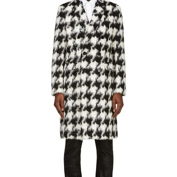 Saint Laurent Black And White Houndstooth Mohair Coat