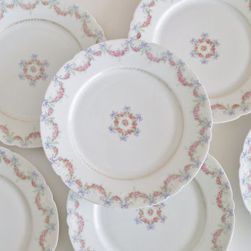 JEAN POUYAT LIMOGES Antique Porcelain Plates Set of 6