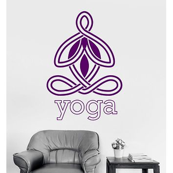 Vinyl Wall Decal Yoga Center Logo Meditation Zen Buddhism Stickers Unique Gift (ig3277)