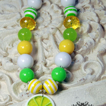 Girls Chunky Beaded Necklace Lemon Lime Slice Kids Boutique Jewelry, Fruit Necklace green and yellow