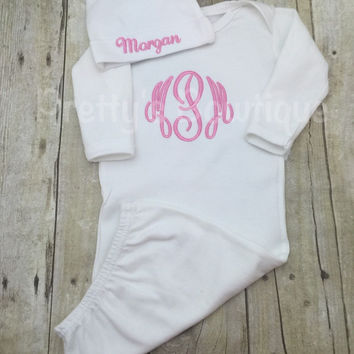Baby Girl Coming home outfit girls Monogram gown and cap~Monogramed newborn gown