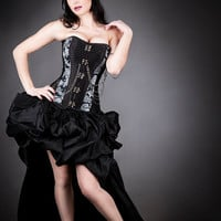 Custom Size  Black and Gray chain Steampunk Burlesque corset with bustled train prom dress